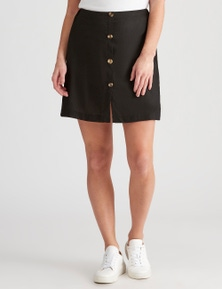Crossroads Woven Button Mini Skirt