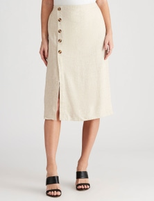 Crossroads Button Side Linen Skirt