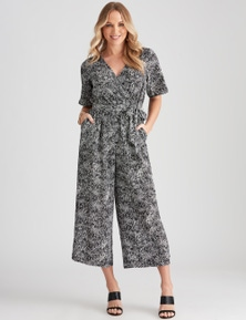 Crossroads Short-Sleeve Wrap Neck Jumpsuit