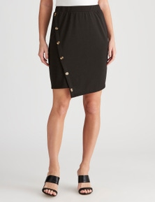 Crossroads Side Button Asymmetrical Skirt