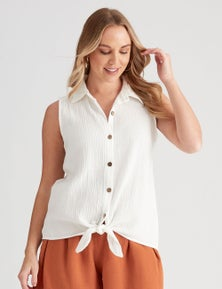 Crossroads Tie Hem Sleeve Textured Shirt