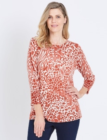 W.Lane Abstract Animal Printed Pullover