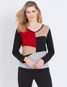 W.Lane V-Neck Colour Block Pullover