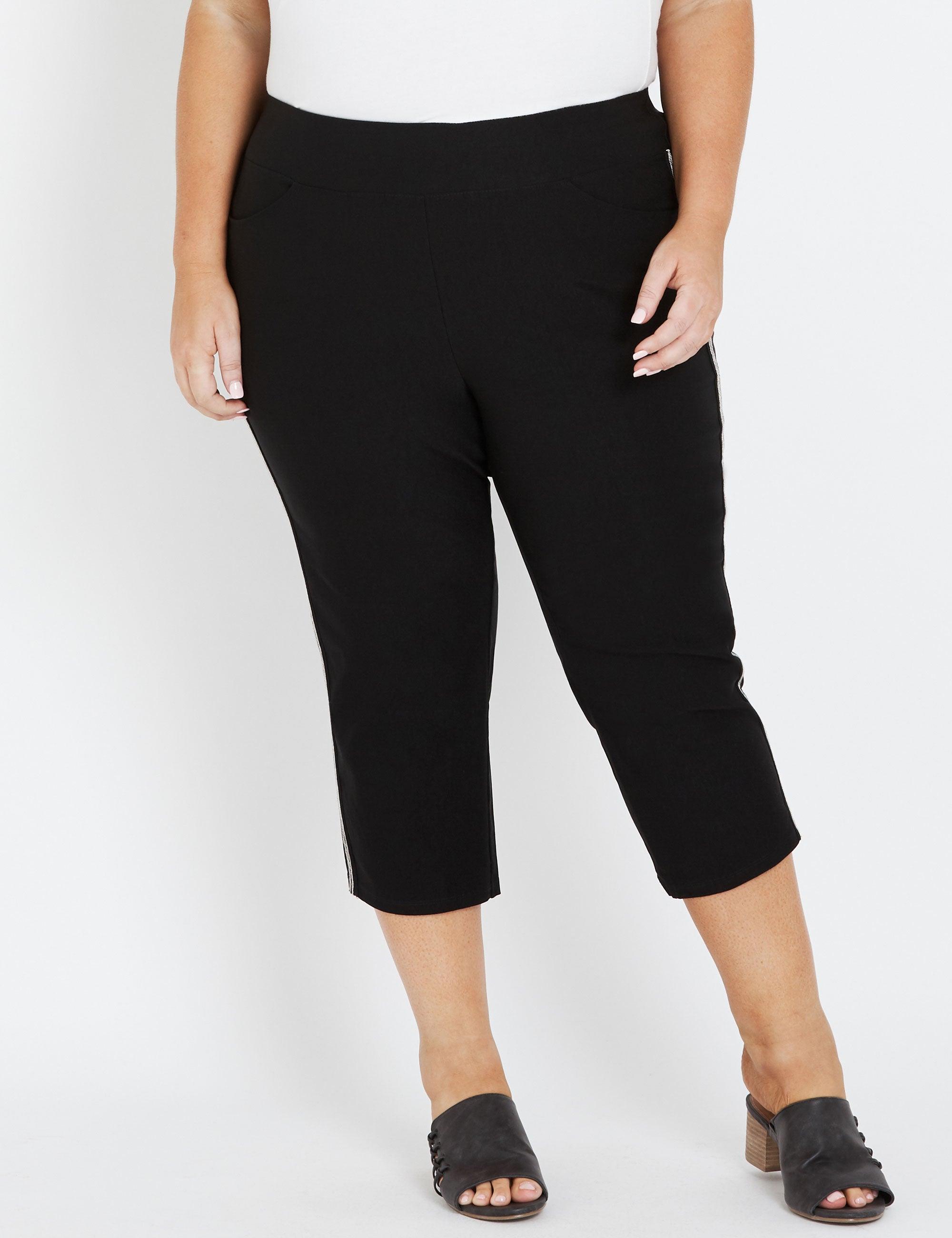 Women Shirring Waist Side Split Buttoned Track Pants