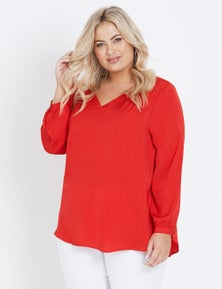 FAULTY Autograph Long Sleeve Hammered Satin Blouse