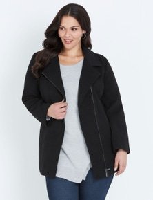 Autograph Hooded Zip Front Coat