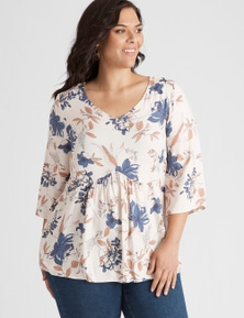 Autograph 3/4 Sleeve Floral Top