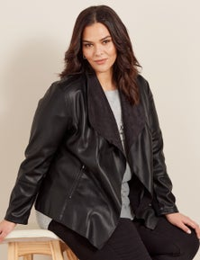 Autograph Vegan Leather Waterfall Jacket