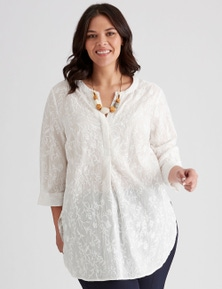 Autograph Cotton Longline Embroidered Top