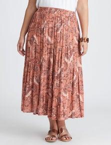 Autograph Woven Midi Tiered Skirt