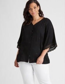 Autograph Woven Embroidered Lace Tie Top
