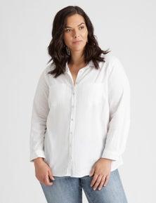 Autograph Long Sleeve Linen Blend Shirt