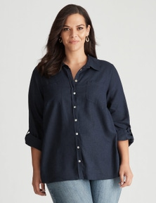 Autograph Long Sleeve Linen Blend Shirt