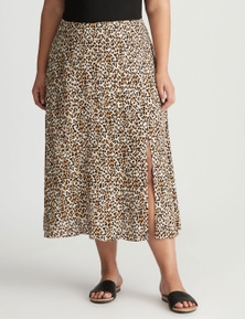 Autograph Woven Side Split Midi Skirt