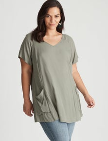 Autograph Woven Short Sleeve Pannelled Tunic
