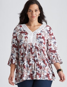 Autograph Woven Peasant Fluted Sleeve Top