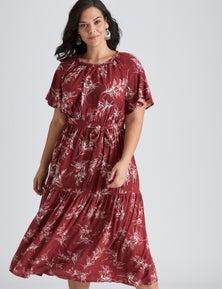 Autograph Woven Flutter Sleeve Maxi Dress