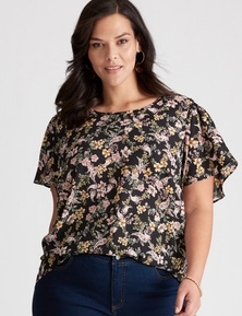 Autograph Woven front Knit Back Short Sleeve Top