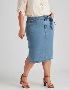 Autograph Denim Belted Midi Skirt