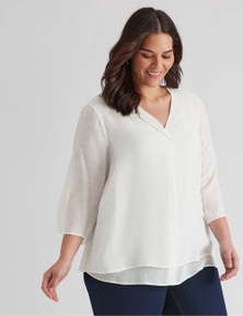 Autograph Woven Double Layer Top