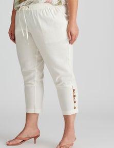 Autograph Woven Ankle Length Button Trim Linen Pant