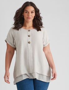 Autograph Woven Extended Sleeve Button Top