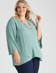 Autograph Woven 3/4 Sleeve Double Layer Top