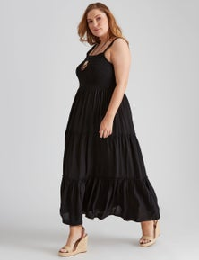 Autograph Woven Smocked Tiered Maxi Dress
