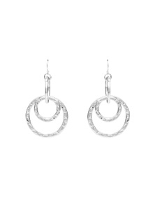 Multi Ring Silver Earring