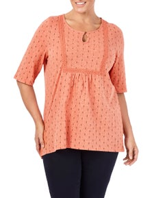 Beme 3/4 Sleeve Embroidered Print Top