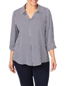 Beme 3/4 Sleeve Stripe Viscose Shirt