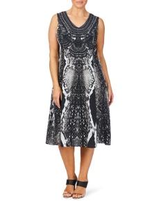 Beme Snake Print Embellished Maxi Dress