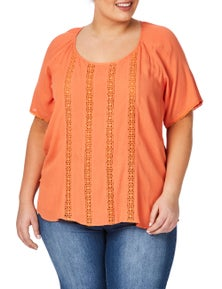 Beme Short Sleeve Lace Panelled Top