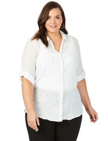 Beme 3/4 Sleeve Embroidered Crushed Shirt