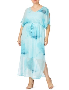 Beme Maxi Elastic Waist Print Dress