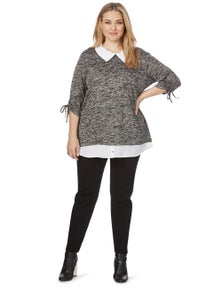 Beme 3/4 Ruched Sleeve Top