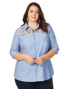 Beme Long Sleeve Embroidered Shirt
