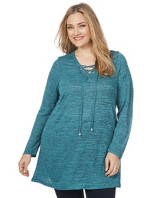 Beme Long Sleeve Tie Front Tunic