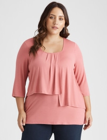 Beme 3/4 Sleeve Square Neck Layer Top