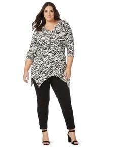 Beme 3/4 Sleeve Zebra Print Top