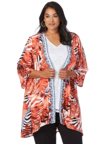 Beme 3/4 Slv Flame Print Kimono