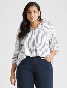 Beme Long Sleeve Stripe Shirt