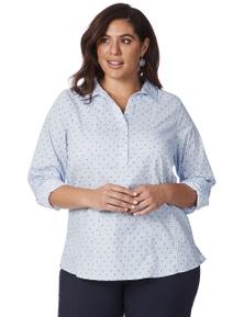 Beme 3/4 Sleeve Spot Stripe Shirt