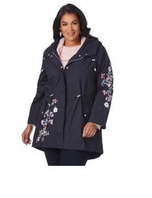 Beme Long Sleeve Embroidered Rain Jacket