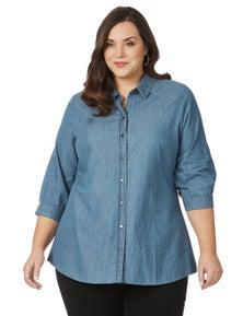 Beme 3/4 Sleeve Long Line Shirt