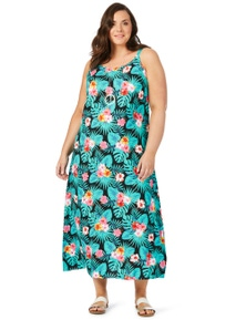 Beme Slvless Tropical Maxi Dress
