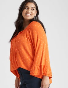 Beme 3/4 Sleeve Print Knit Top