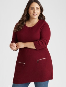 Beme 3/4 Sleeve Zip Pocket Tunic
