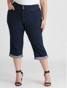 Beme Super Stretch Double Button Crop Jean