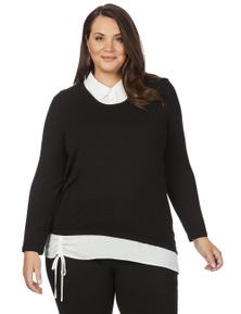 Beme Long Sleeve Two For Tie Hem Knit Top